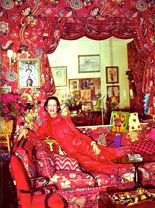Diana Vreeland in her 'garden in hell' room she requested from famed NYC  interior designer Billy Baldwin.