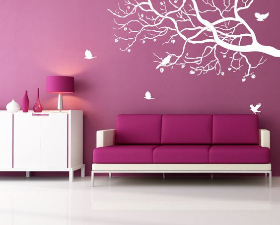wall decal - white tree branch with birds wall art designs - vinyl ...