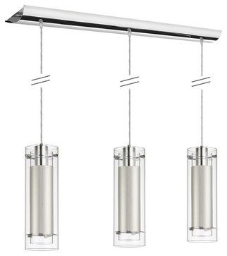 Dainolite 22153-790-Pc 3 Lite Polished Chrome Pendant Clear Frosted Glass - contemporary - pendant lighting - Lighting Front