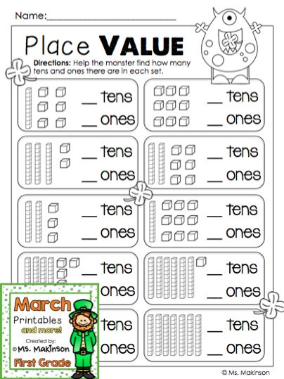 march printables first grade literacy and math patrick