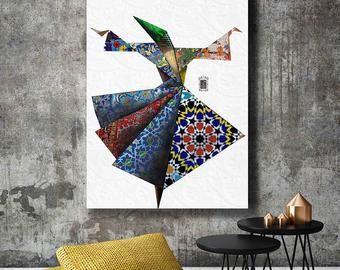 Sufi Dance Design Iran Wall Art Persian Wall Art Canvas Persian Home Decor Wall Art Print Iranian Art Persian Art Painting Art African Art Paintings