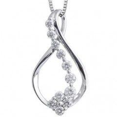 14k White Gold Ribbon Journey Diamond Pendant Necklace (GH, I1-I2, 0.50 carat)