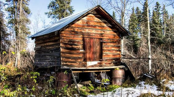 One of the many simple yet beautiful storehouses on sunlit land in Chistochina, AK.
