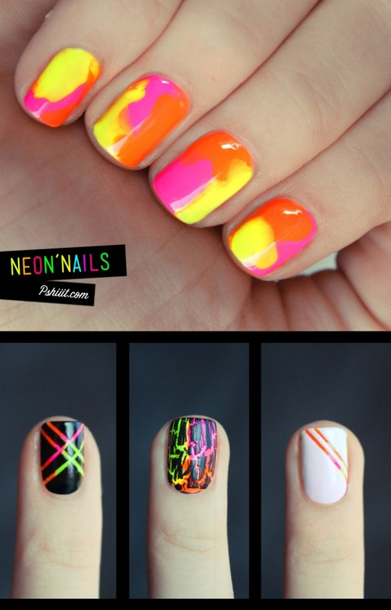 Kinda like those things we had in art class in elementary school that would have the color under all the black and you would scratch the black off to make a picture. I loved those things back then so I love it on the nails