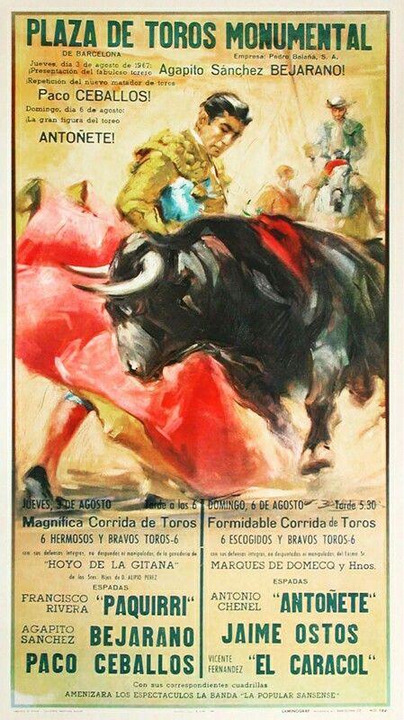 vintage poster, Plaza de Toros Monumental