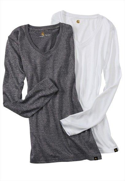 Carhartt v-neck long sleeve tee. they do go great with scrubs
