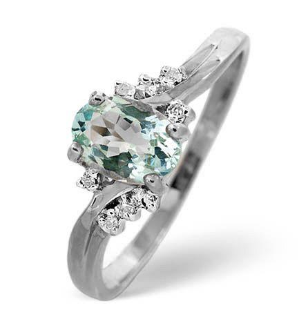 Aqua Marine 0.70CT And Diamond 9K White Gold Ring