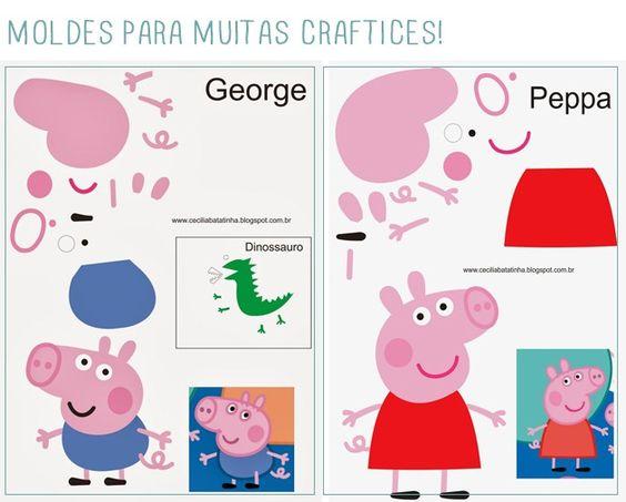 Inspiração–peppa pig, george e senhor dinossauro