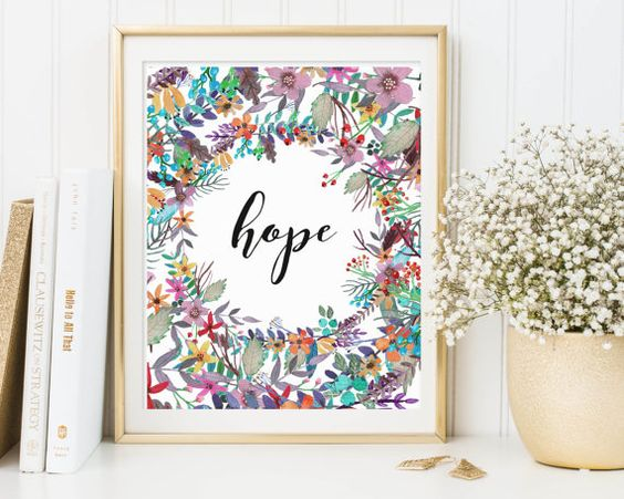 Hope Wall Art Faith Hope Love Wall Art Hope by TheSunshineGarden