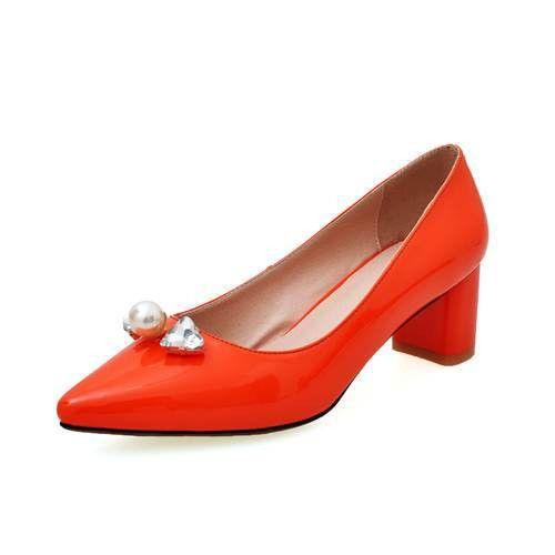 Pump - rhinestone comfortable orange dress shoes brand shoes