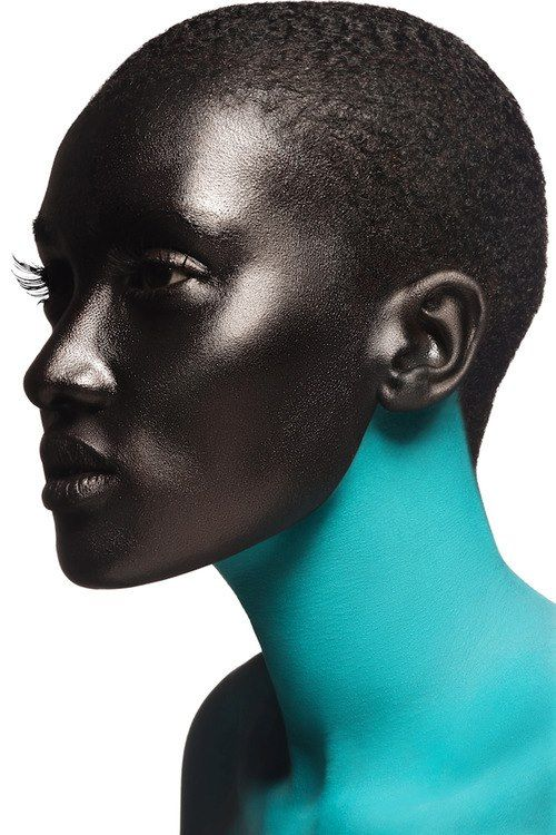 black & blue skin contrast