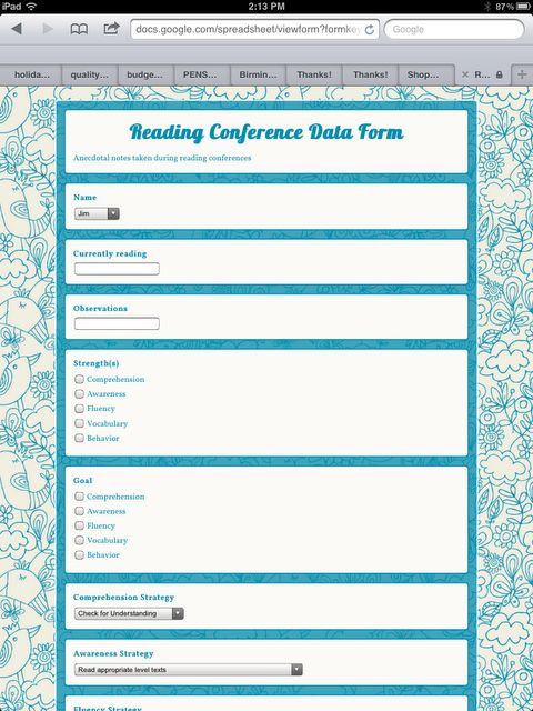 Use Google Forms to make a reading data collection form for the iPad!! Wow!!