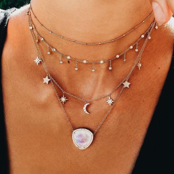 Pulsera de Moda Multicapa Collar De Perlas Pendientes Conjunto de joyas de oro en 0cn