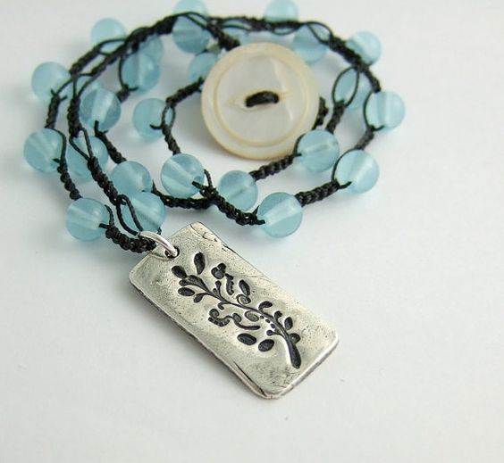 Crocheted Necklace with Gray Cord Blue Glass Beads by jewelrybyroz