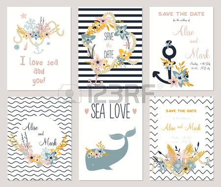 6 save the date cards template collection. Summer ocean flowers bouquets and wreath set. Nautical sea wedding elements. Wedding, marriage, bridal shower, birthday, Valentines day. Vector illustration. Stock Photo - 45712965