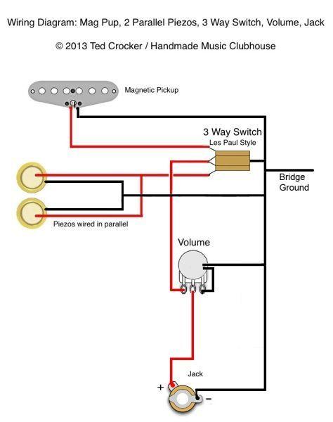 Ted Crocker wiring diagram - 1 Single Coil, 2 Piezo, 1 Vol, 3 Way switch |  Cigar box guitar plans, Cigar box guitar, Cigar box | Guitar Wiring Diagrams 2 Pickups 1 Piezo |  | Pinterest