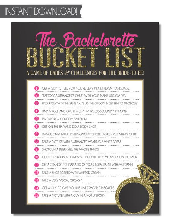 INSTANT DOWNLOAD! Bachelorette Party Game/Hens Party Game: THE BACHELORETTE BUCKET LIST! The bride has to complete all of the dares on her Bucket List before she can officially leave her single life behind! (From SweetBeeShoppe on Etsy)