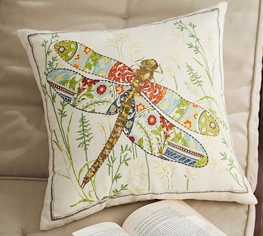 Anna Marie Embroidered Dragonfly Indoor/Outdoor Pillow #potterybarn