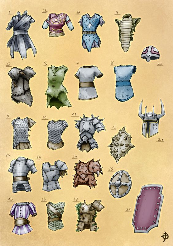 Reznick's Armors by EyalDegabli equipment gear magic item | Create your own roleplaying game material w/ RPG Bard: www.rpgbard.com | Writing inspiration for Dungeons and Dragons DND D&D Pathfinder PFRPG Warhammer 40k Star Wars Shadowrun Call of Cthulhu Lord of the Rings LoTR + d20 fantasy science fiction scifi horror design | Not Trusty Sword art: click artwork for source
