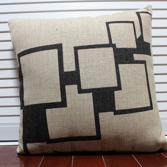 Black Beige Box Window Linen Cotton Cushion by SimplicityByMade