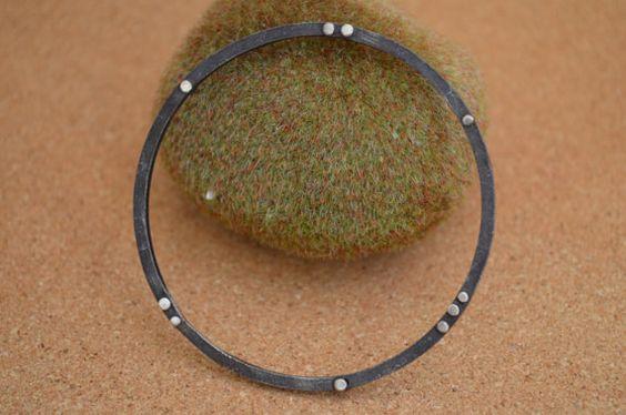 Sterling Silver Bangle Bracelet with rivets on Etsy, 765,74 kr