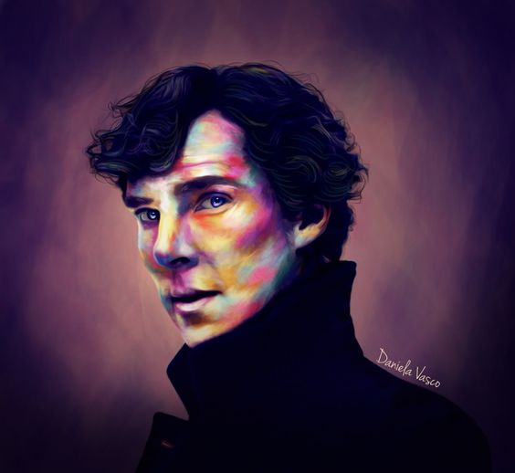 """sherlockingsherlock: """" So apparently once you start drawing this man you can never stop.. (I think i over did it with the bright colors  i need help) """""""