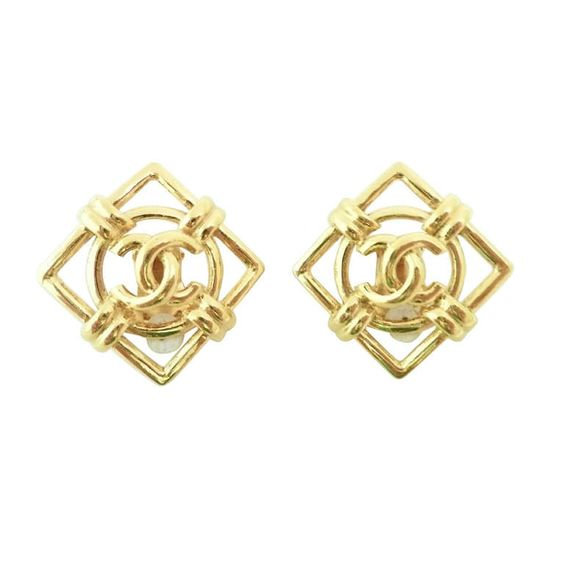 Vintage 1970's Signed Chanel 29 Logo Earrings | From a unique collection of vintage clip-on earrings at http://www.1stdibs.com/jewelry/earrings/clip-on-earrings/