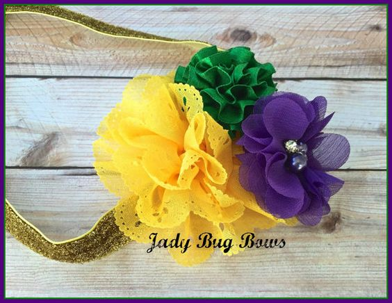 Mardi Gras Headband Fat Tuesday Headband Carnival by JadyBugBows