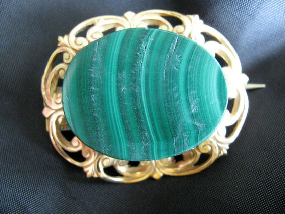 Victorian Malachite Brooch Gold Mount by victoriansentiments, $68.00