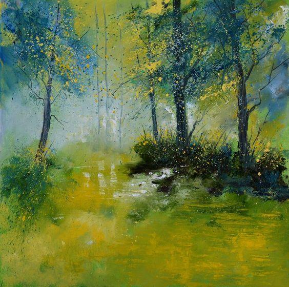 ARTFINDER: Pond in a wood 8851 by pol ledent - oil on canvas 80 x 80  cm