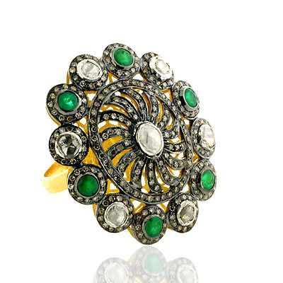 2.12 ct Emerald Pave Diamond 18kt Gold Designer Ring 925 Sterling Silver Jewelry