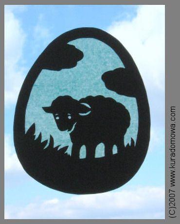 baranek wielkanocny - witraż z bibuły