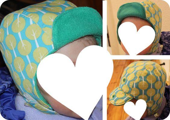Wintermütze (KU 45 cm) aus Baumwollstoff, Vlieseline H630 (Futter) & Fleece genäht (Schnittmuster: Nikita / Ottobre design [6/2011])