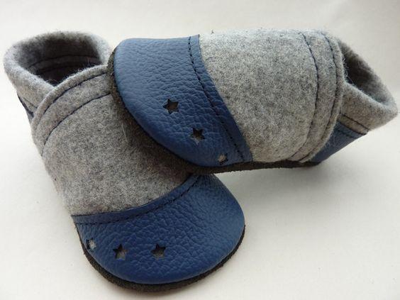 Krabbelschuhe - Krabbelschuhe,Lederpuschen,Krabbelpuschen,Wollfilz - ein Designerstück von Pumi-Puschen bei DaWanda