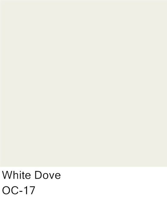 Trim Color for both bathrooms (including shelving, baseboards, doors and door trim) for both bathrooms Benjamin Moore White Dove - Trim