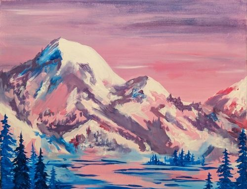 Sky painting Mountain painting Impressionist art Small paintings Original oil painting Winter mountains Winter art Winter painting