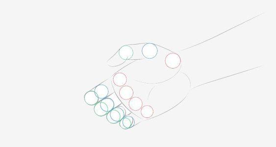Vẽ các khớp của bàn tay phía sau lúc bắt tay