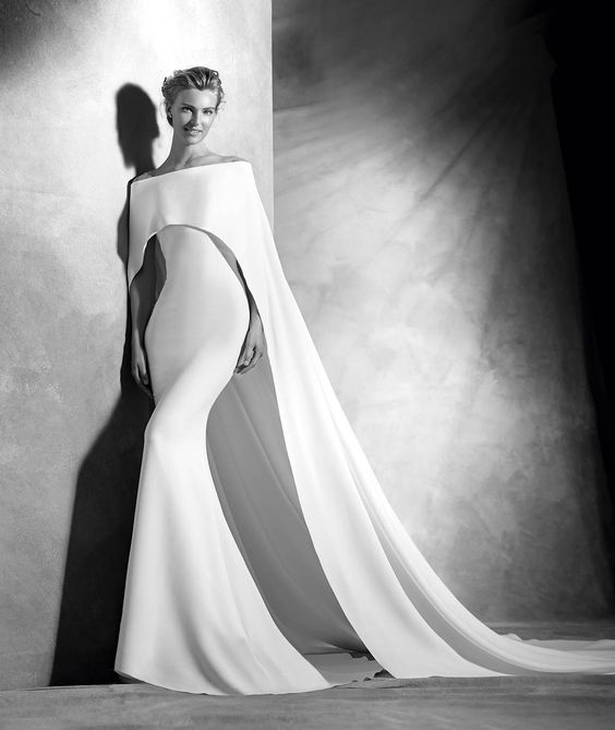 Pronovias-Atelier-VERONA-sleek-wedding-dress-with-cape-dimitras-bridal-couture-solange-inspired-wedding-dresses-chicago