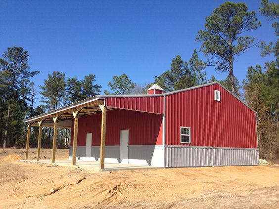 30x40x12 Enclosed Steel Truss Pole Barn With Lean To