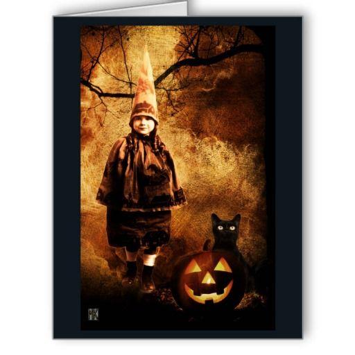 Vintage Pumpkin Witch Halloween Card X-LARGE CARD