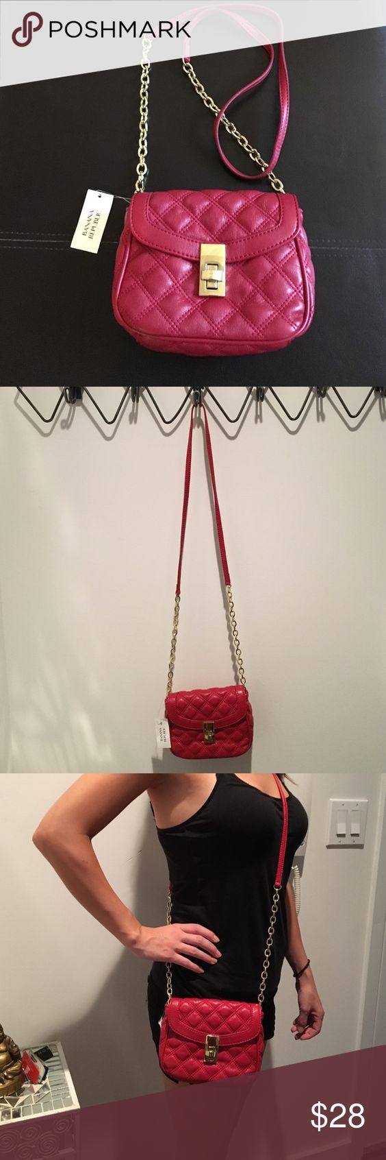 Red Quilted Banana Republic Crossbody Bag Classic and sophisticated faux leather Crossbody bag in a rich red color. New with tags but some minor scratching to the front hardware from turning the clasp. A perfect bag for fall! Banana Republic Bags Crossbody Bags