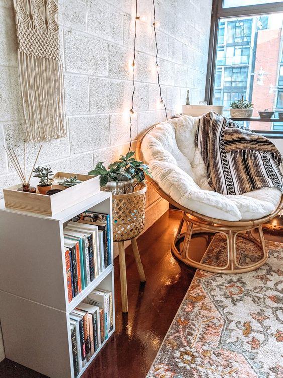 Cozy, inspiring, Bohemian, boho style, papasan chair, plant stand basket, bright and airy, nook, vintage #bohobedroom #bohoreadingnook #diyboho