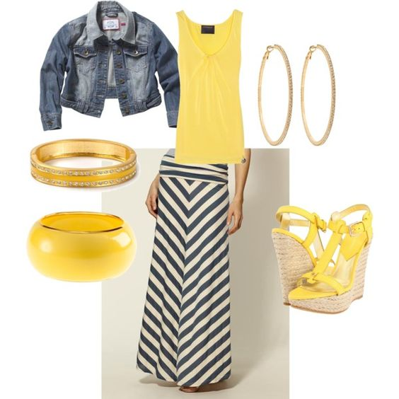 I have this skirt... how to make it pop with yellow! #maxi #style