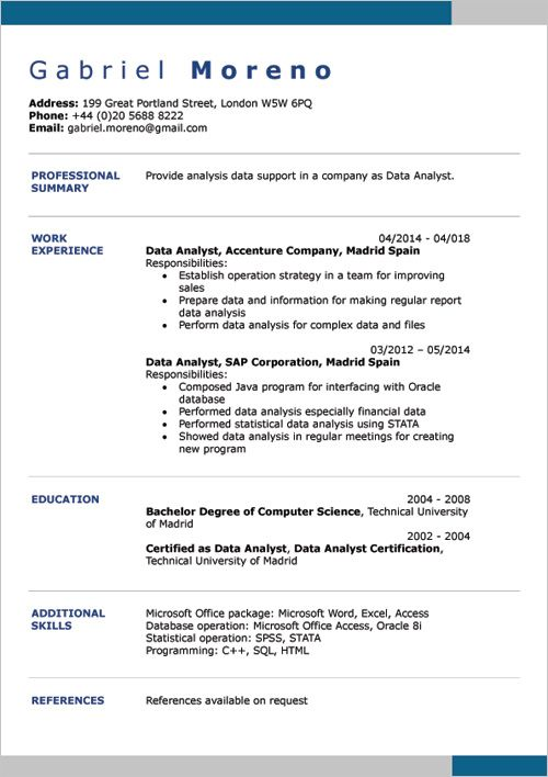 English Cv Examples Doc Word Cv Examples Microsoft Word
