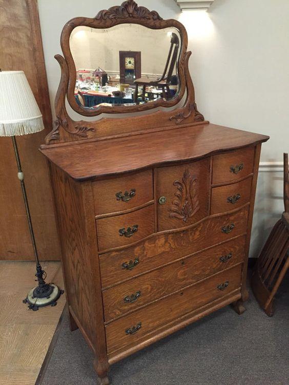 Antique Dresser Oak Center Hat Box Chest Tilt Mirror By