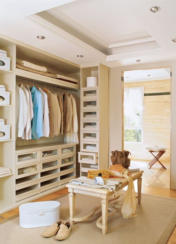 Glass front drawers, hanging storage