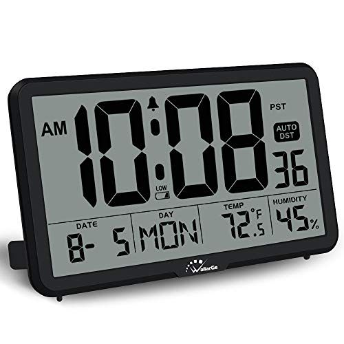 Wallarge Digital Wall Clock Autoset Desk Clock With Temperature Humidity And Date Battery Operated Digital Cloc In 2020 Large Digital Wall Clock Desk Clock Clock
