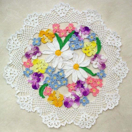 Crochet Flower Bouquet Patterns : Flower Bouquet Doily Crochet Pattern Pictures of, Design ...