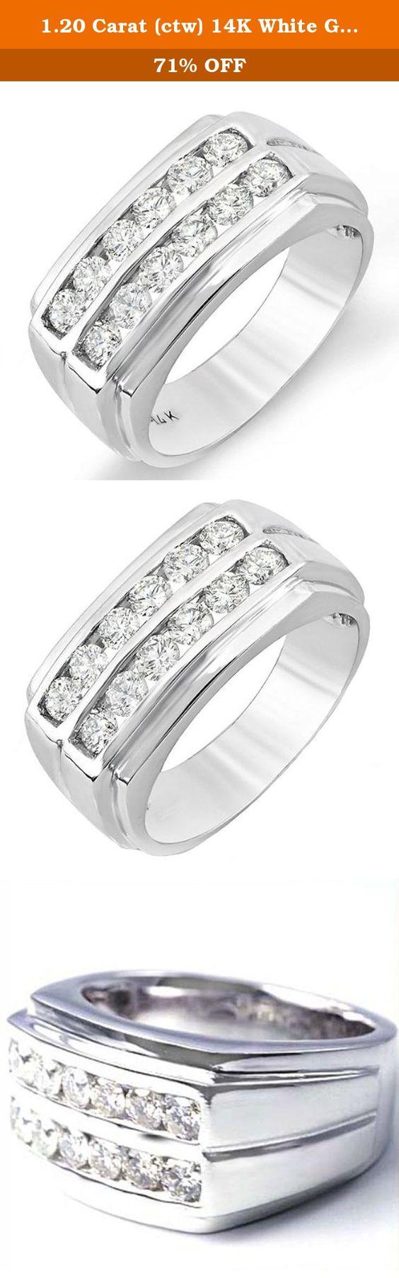 1.20 Carat (ctw) 14K White Gold Round Diamond Wedding Anniversary ...