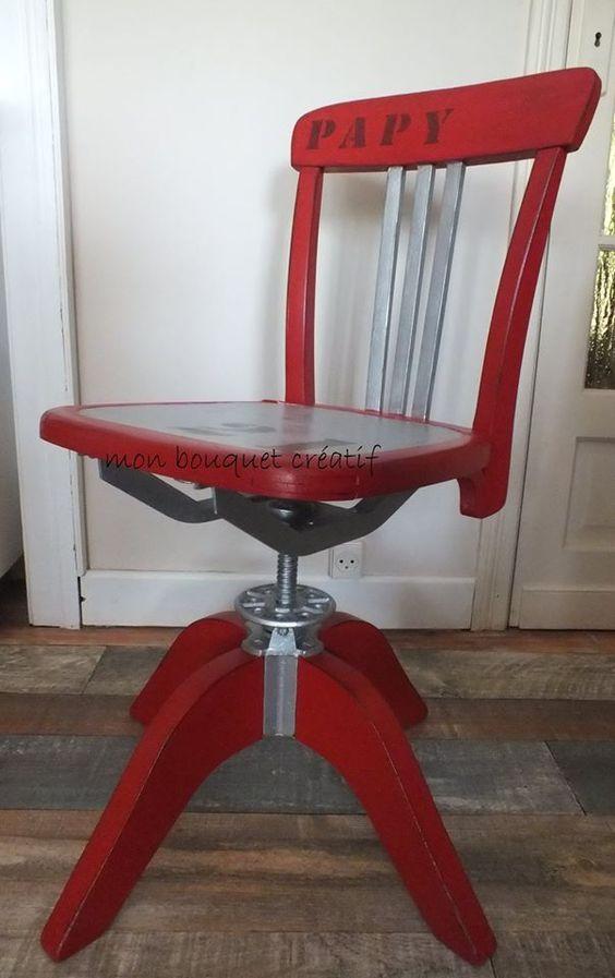 chaise de bureau relook rouge passion alu et b ton noir meubles relook s el onore d co. Black Bedroom Furniture Sets. Home Design Ideas